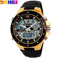 Skmei hombres de la marca deportiva relojes de doble pantalla digital de pulsera correa de caucho de cuarzo analógico led resistente al agua para nadar reloj creativo