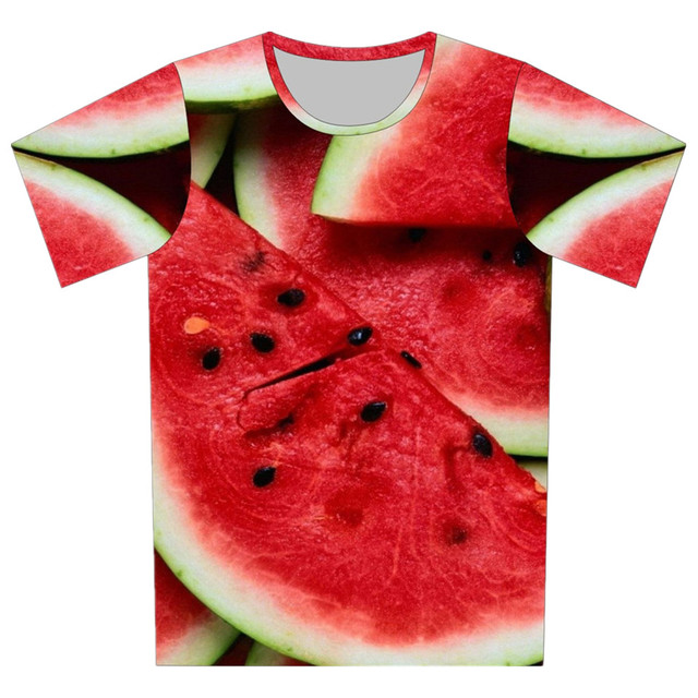 2016 crianças de verão New Style 3D T - Shirt criativo melancia Galaxy desenhos animados padrão de impressão T camisa da menina do menino roupas de frio Tees