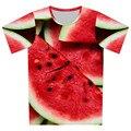 2016 niños del verano nuevos estilo 3D de la camiseta sandía creativa galaxia de dibujos animados patrón de impresión camiseta chico Cool Girl ropa camisetas