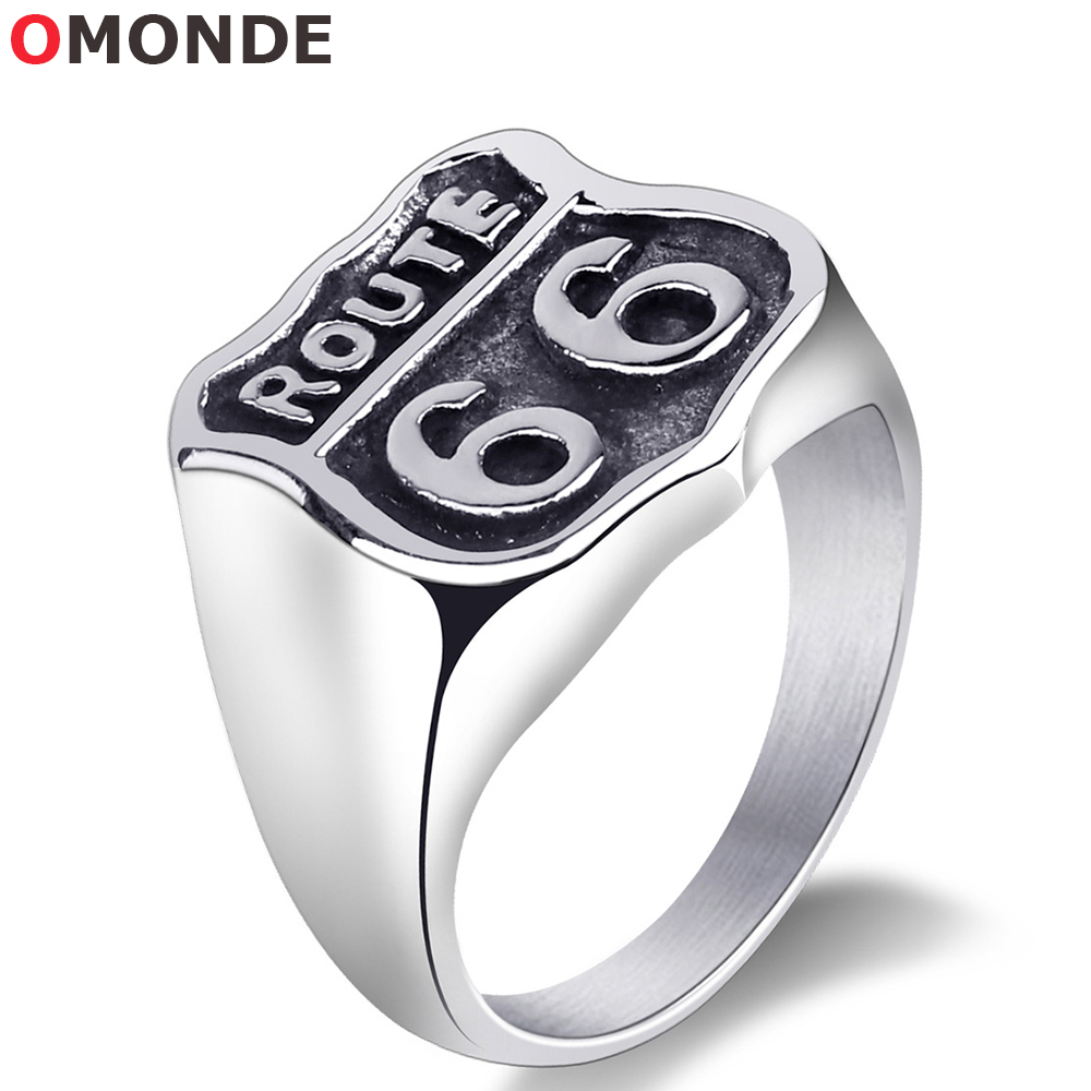 Vintage Route 66 Ring Men Titanium 316L Stainless Steel Highway Road Number Metal Sign for Male Biker Riders Finger Jewelry