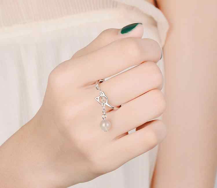 Original 925 Sterling Silver Animal Gato Bonito Strass Feminino Anel de Jóias Anéis de Dedo Para As Mulheres Não Se Desvanece Partido Aberto Meninas