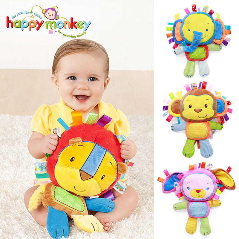 Happy Monkey Kids Plush Baby Rattle Stuffed Animal Cat Developing Educational Learning Toys Gift For Toddler Children 0-12 Month