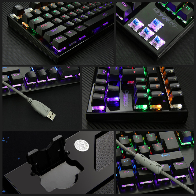 Backlit Gaming Mechanical Keyboard Colorful LED usb Wired Game Keyboard 26 Keys Anti-ghosting Free Hand Care Russian sticker 3
