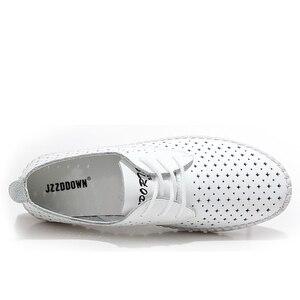 Image 3 - جلد طبيعي السيدات الشقق أحذية رياضية النساء حذاء بدون كعب الأحذية الإناث جوفاء الأخفاف الأبيض الدانتيل يصل قماش قارب الأحذية