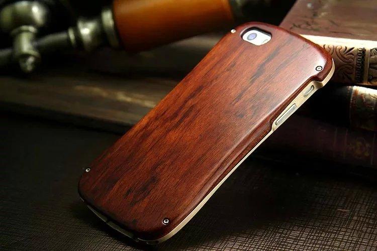 imágenes para De alta Calidad de Madera + Aluminio hombres Cajas Del Teléfono Celular Para el iphone de Apple 5 5S 6 6 s Boy Mobile Cubierta de la caja