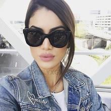 Kim Kardashian Luxury Rectangle sunglasses women brand designer retro cat eye su