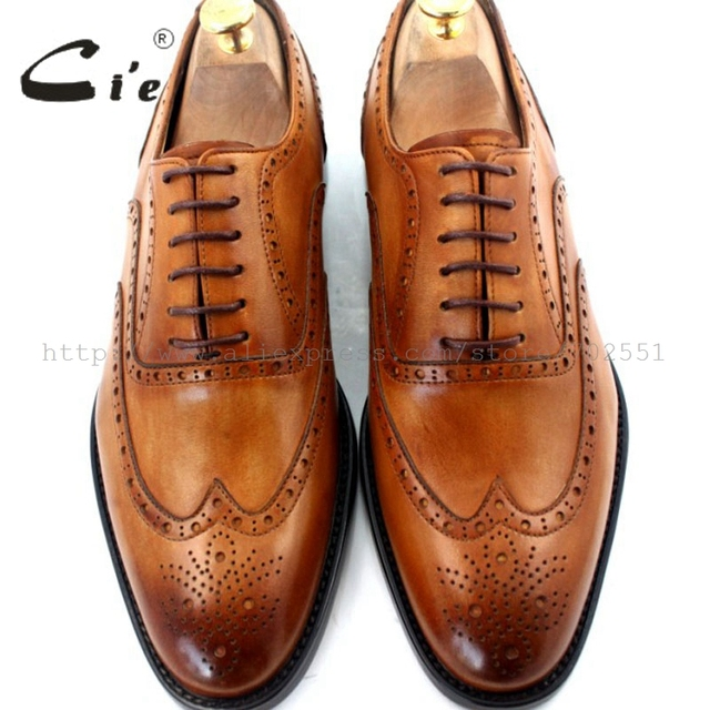 cie round toe full brogue shoes men custom handmade calf leather men leather dress shoes men's oxford shoe color brown No.OX208