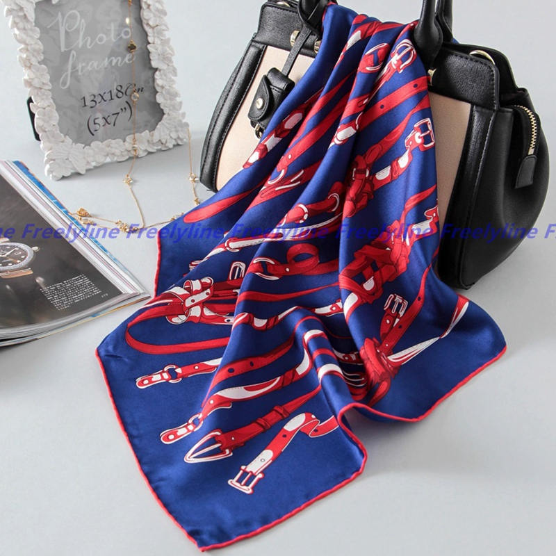 Fashion Belts Print 100% Silk   Scarf   Neckerchief Bandana Women 100% Silk Twill   Scarves     Wraps   Autumn Winter Clothing Accessories