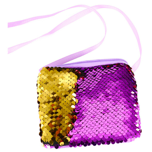 Women Small Handbag Mermaid Sequin Coin Purse Wallet Kids Girl Coin Pocket Bag Party Zipper Clutches Bag Package Pouch