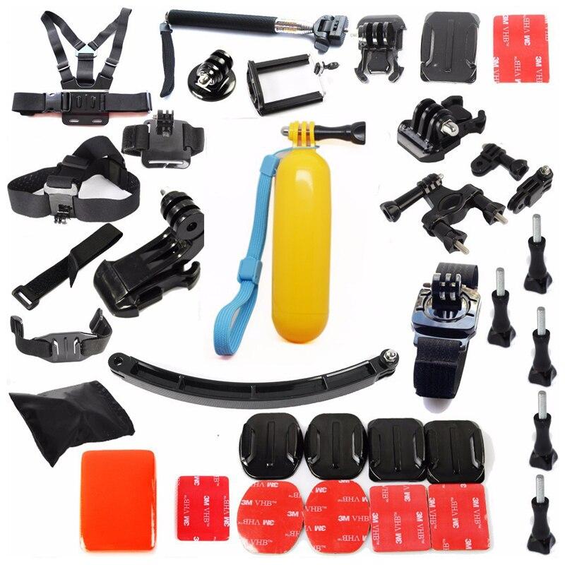 Livraison gratuite!! Accessoires Set casque harnais poitrine tête de montage sangle monopode pour GITUP Gopro, SJ4000, SJ5000, XiaoYI Sport Cam