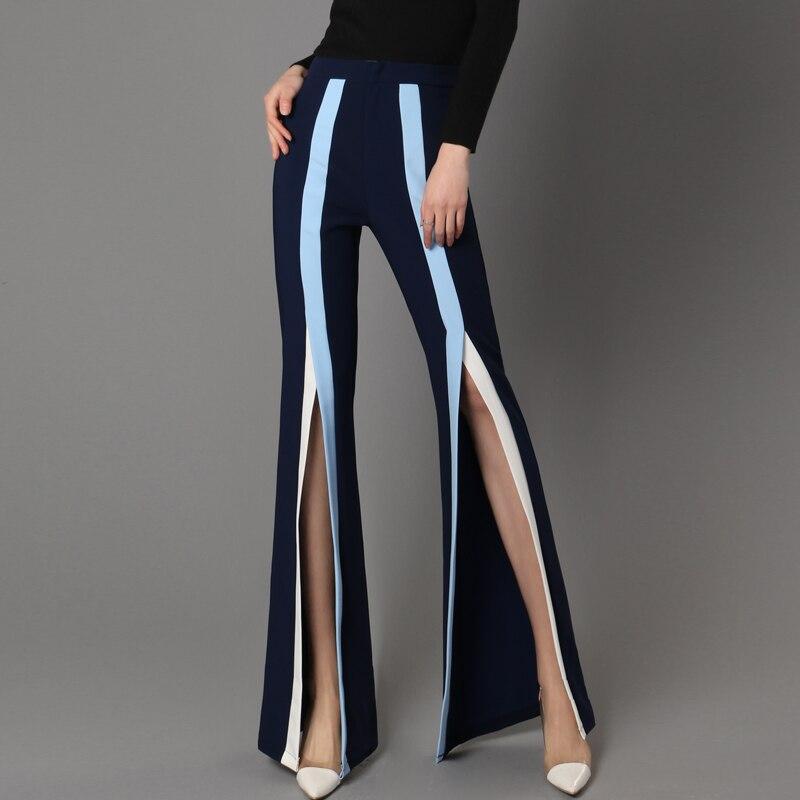 New Waist   Wide     Leg     Pants   female autumn flavor Chiffon stripes nine   pants   slim female trousers vent flares