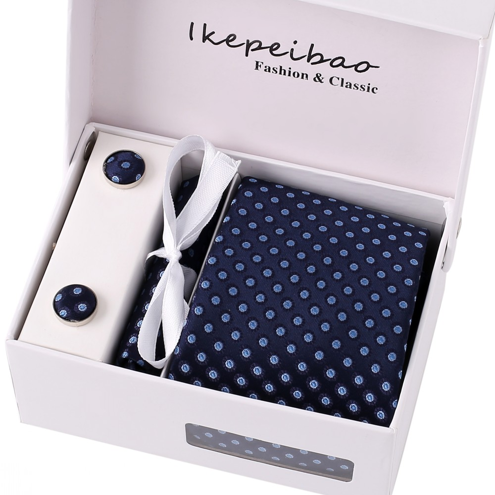 Ikepeibao Competitive price Dots Navy Men Casual Ties Set Cufflink Hanky Clips Neckties with Gift Box