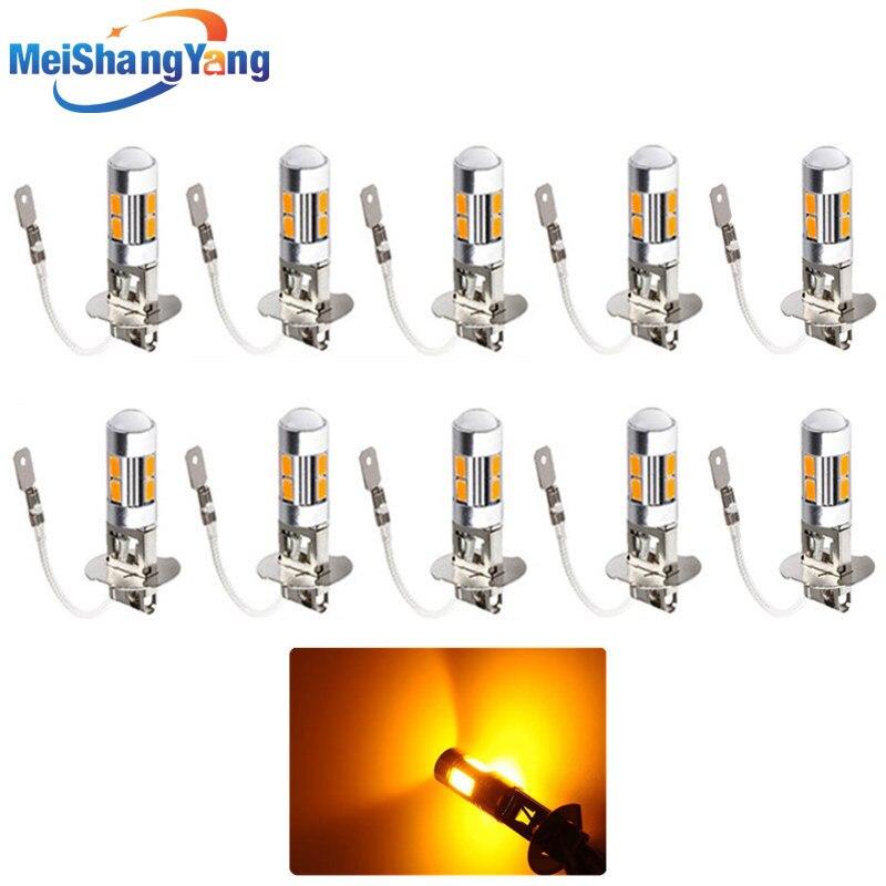 10pcs Amber H3 LED light Replacement Bulb For Car Fog Turn Brake Lights Auto led bulbs Light Source parking Combo 5630 12V