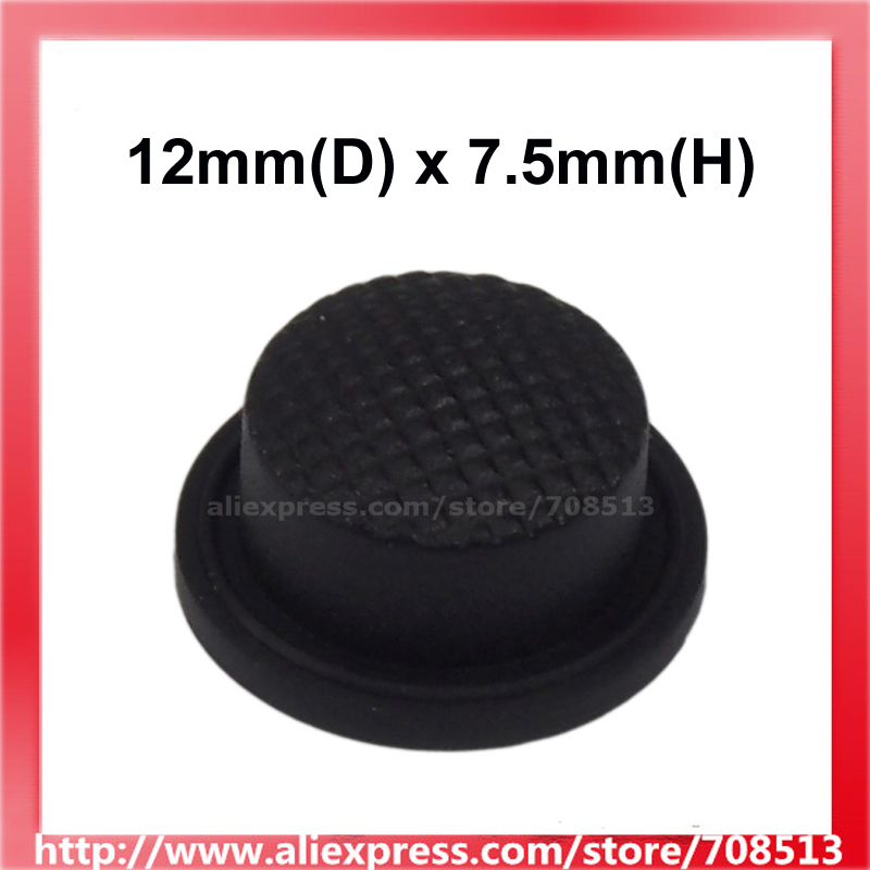 12mm(D) X 7.5mm(H) Silicone Tailcaps - Black (10 Pcs)