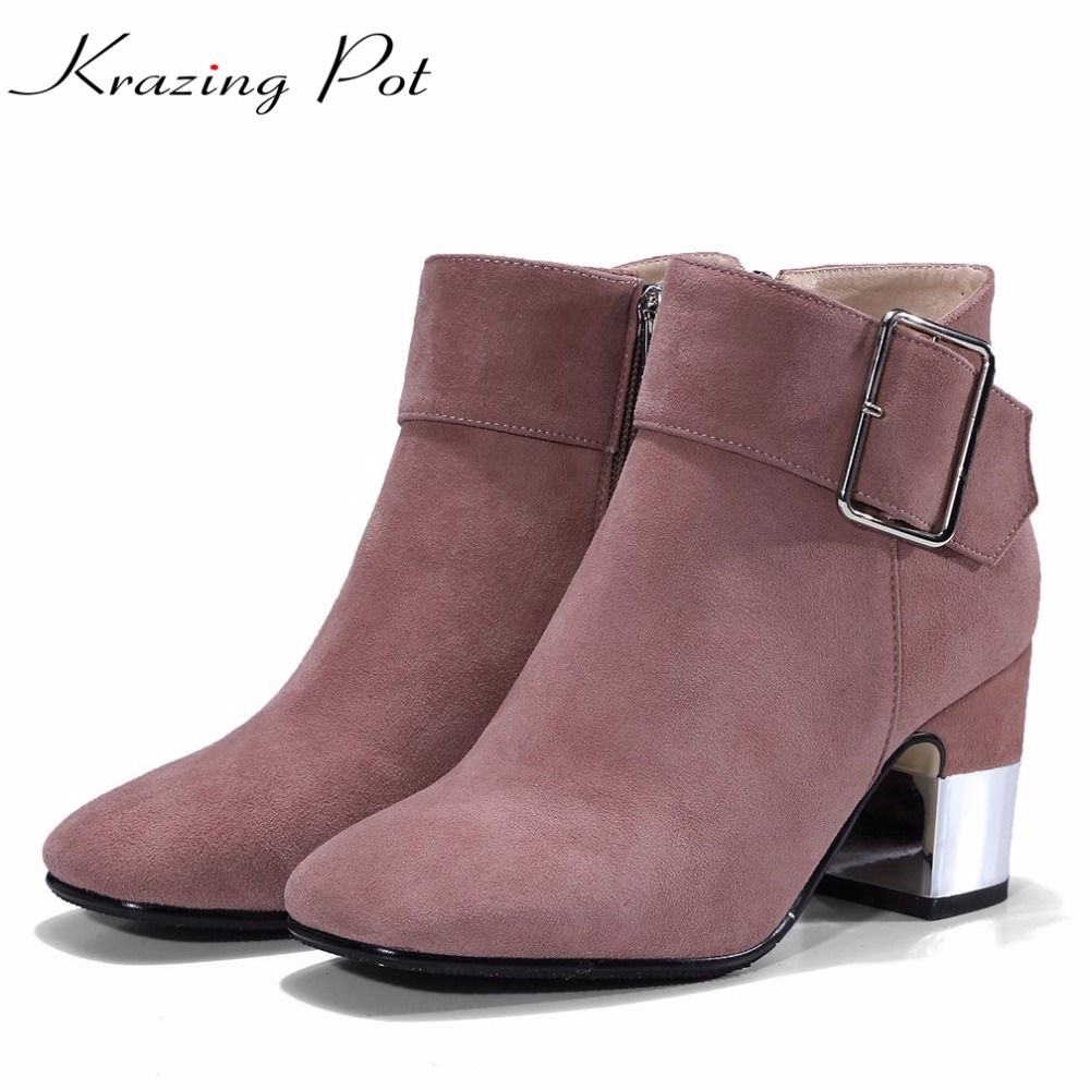 Krazing Pot genuine leather boots winter square buckle metal high heels European round toe women fashion fairy ankle boots L91 european style autumn genuine leather fashion ankle boots round toe zipper belt buckle high heels motorcycle boots women boots