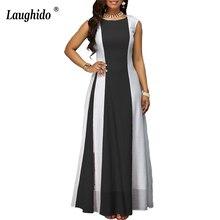 Laughido Plus Size Chiffon Maxi Dress Summer Swing Vestidos Elegant Party Loose Large Black Long Women Clothing