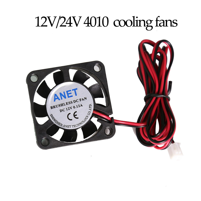 2pcs Anet A6 A8 E10 E12 DC12V/24V 4010 Brushless Cooling Fan Air Ventilator 40x40 Ultra Quiet For 3d Printer Extruder CPU Parts