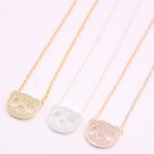 Multicolor animal land pendant necklace Hollow out panda head pendant necklace designed for women(China)