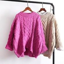 O ネックヴィンテージ厚手のセーターの女性服 Q1788 暖かいプルオーバーニットセーター女性ルース長袖ニットプルオーバー女性