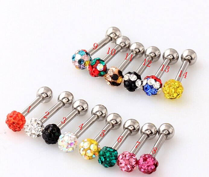 ES51077 free ship 100pc/lot assorted colors 3.5mm women bling rhinestone crystal fireball ball stud earrings ear tunnel plug