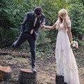 Vintage Bohemian Wedding Dresses A-line V-neck Short Sleeve Chiffon and Lace Bridal Gowns Custom Made Plus Size vestido de noiva