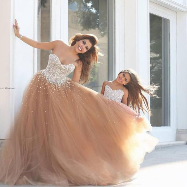 634b39f37 Luxury Long Puffy Prom Dresses Scoop Neck Floor Length Ball Gown Mother And  Daughter Dresses Party Nude Prom Dress