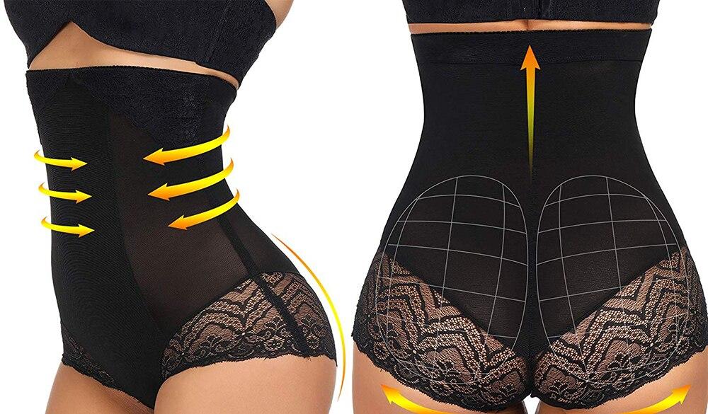 HEXIN Women High Waist Butt Lifter Tummy Control Panties Slim Briefs Butt Enhancer Buttock Shapewear Underwear Booty Lifter