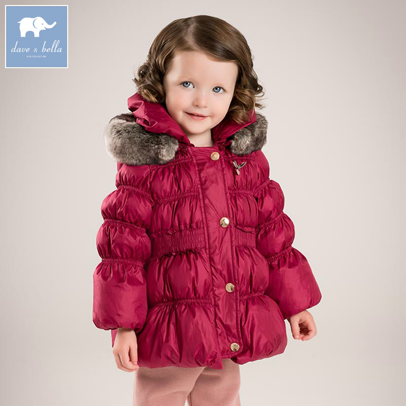 DB5571 dave bella winter infant baby girls down jacket children white duck down padding coat kids hooded big bowknot outerwear