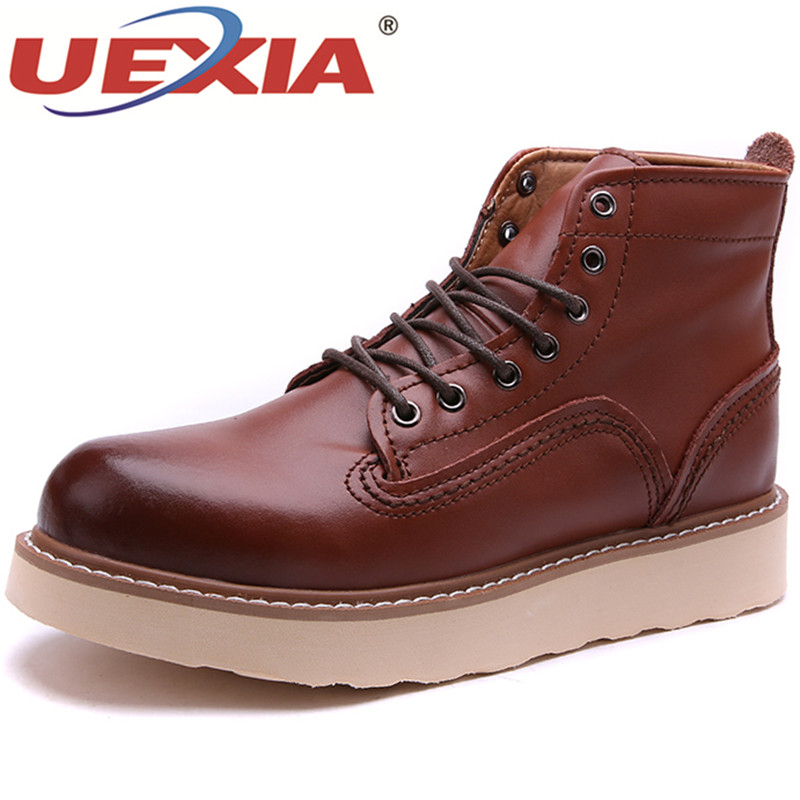 UEXIA New PU Men Boots Autumn Winter Chelsea Ankle Boots Fashion Footwear Lace Up Shoes Men Business Casual High Top Men Boots new high quality casual boots men leather flats lace up men ankle boots winter autumn men s shoes casual short boots fashion