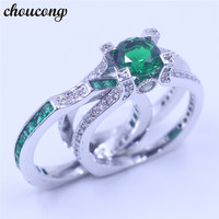 Choucong Birthstone Women Wedding Bridal Sets Ring Green 5A Zircon Cz 925 Sterling Silver Engagement Band