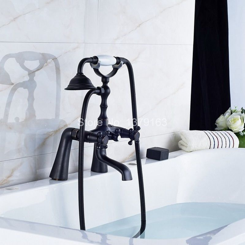 Black Oil Rubbed Bronze Double Cross Handles Deck Mounted Bathroom Clawfoot Bathtub Tub Faucet Mixer Tap w/Hand Shower ahg025