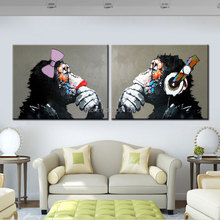 hand painted funny couple monkey Gorilla orang painting special gift for parents lover canvas oil GRAY animal wall art