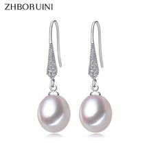 ZHBORUINI 2017 Fashion Pearl Earrings Natural Freshwater Pearl Jewelry Dorp Earring 925 Sterling Silver Jewelry For Women Gift