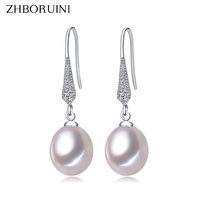 2015 Fashion Pearl Earrings 100 Real Natural Freshwater Pearl 925 Sterling Silver 8 9mm Water Drop