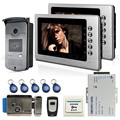 Free Shipping New 7 inch Color Video Door Phone Intercom Kit 2 Monitors + 1 RFID Access Camera + Electric Lock + Remote In Stock
