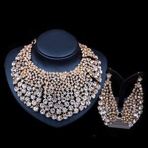 Image 4 - LAN 宮殿新ファッションブライダルネックレスマリアージュナイジェリアパーティーゴールドセットインドためのネックレスとイヤリングジュエリー送料無料