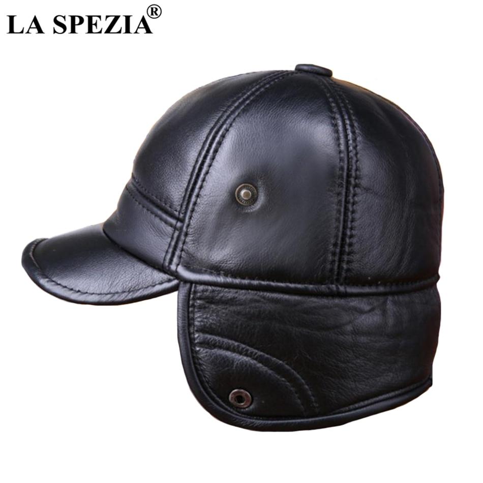 Winter Baseball Caps Men Genuine Cow Leather Warm Duckbill Hat Male Black  Earflaps Luxury Italian Vintage Snapback Cap 562acbd3c2e3