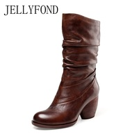 JELLYFOND Platform High Heels Boots Women Genuine Leather Winter Shoes Botas Feminina Vintage Motorcyle Knee High Boots Big Size