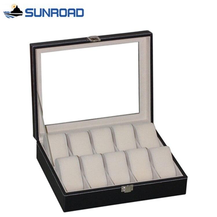 2017 Смотреть Box Мода 10 сетки кожа часы шкатулка dispay поле Часы чехол для хранения ювелирных изделий организованной Кахас Para Relojes