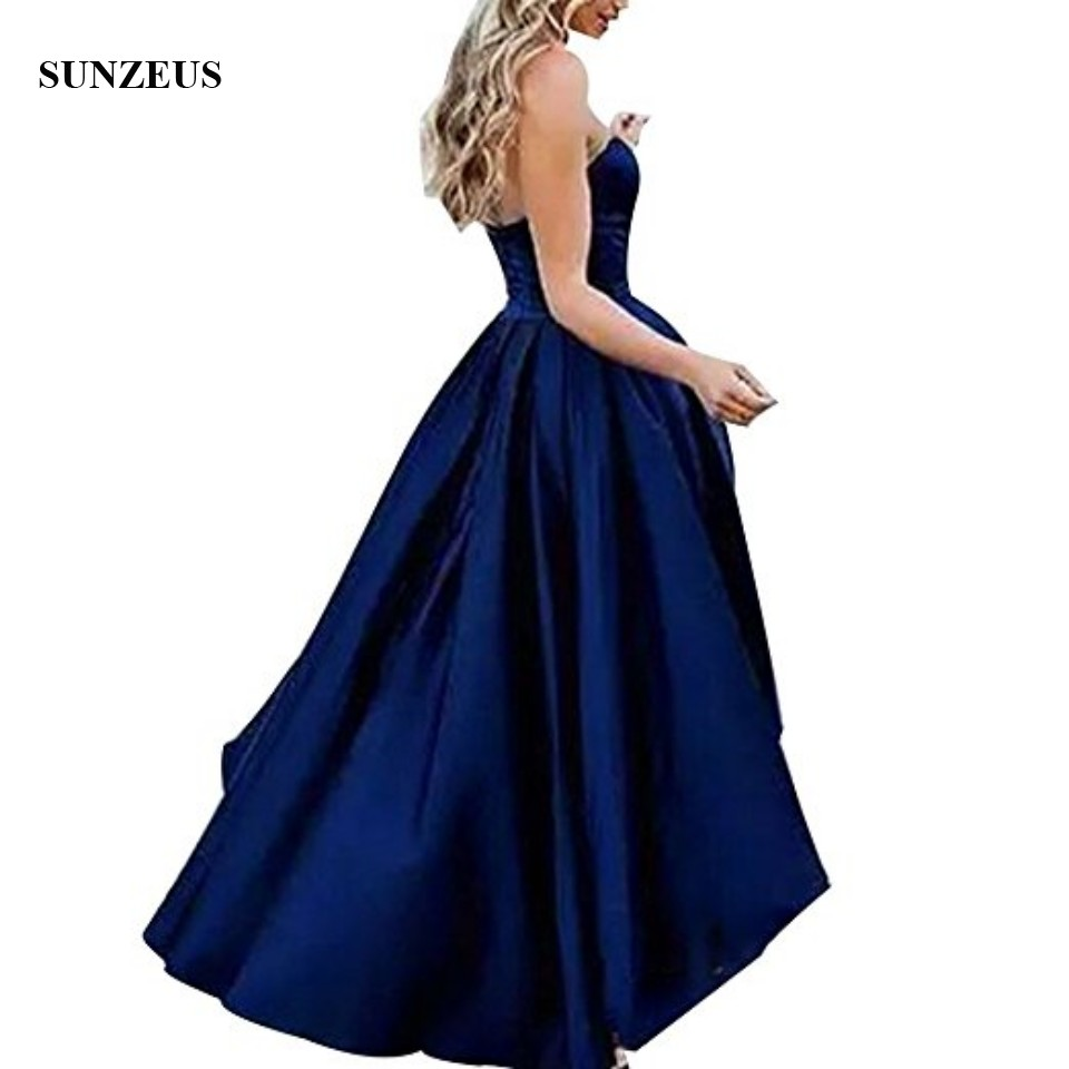efeafa8c3595 Hög Låg Bridesmaid Dress Kort Fram Lång Rygg Navy Blue Wedding Party ...