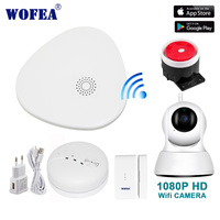 wofea HD 1080P wifi video home security alarm system wifi smart V10 APP message push notice SMS & auto dial smoke & door sensor