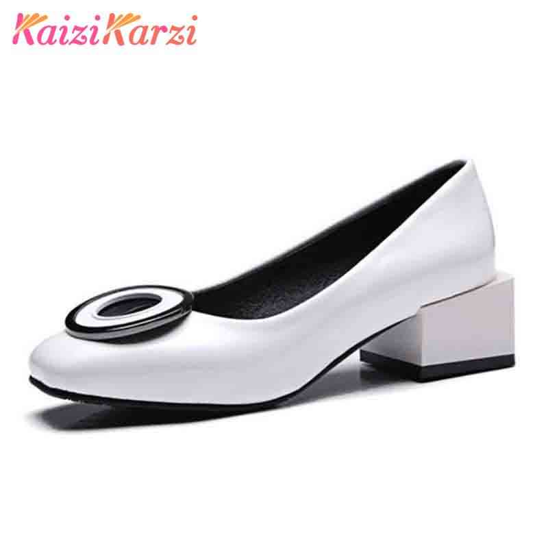 2d66ac2cfe6c KaiziKarzi Size 32-48 Lady High Heel Shoes Women Square Toe Bowtie Thick Heels  Pumps