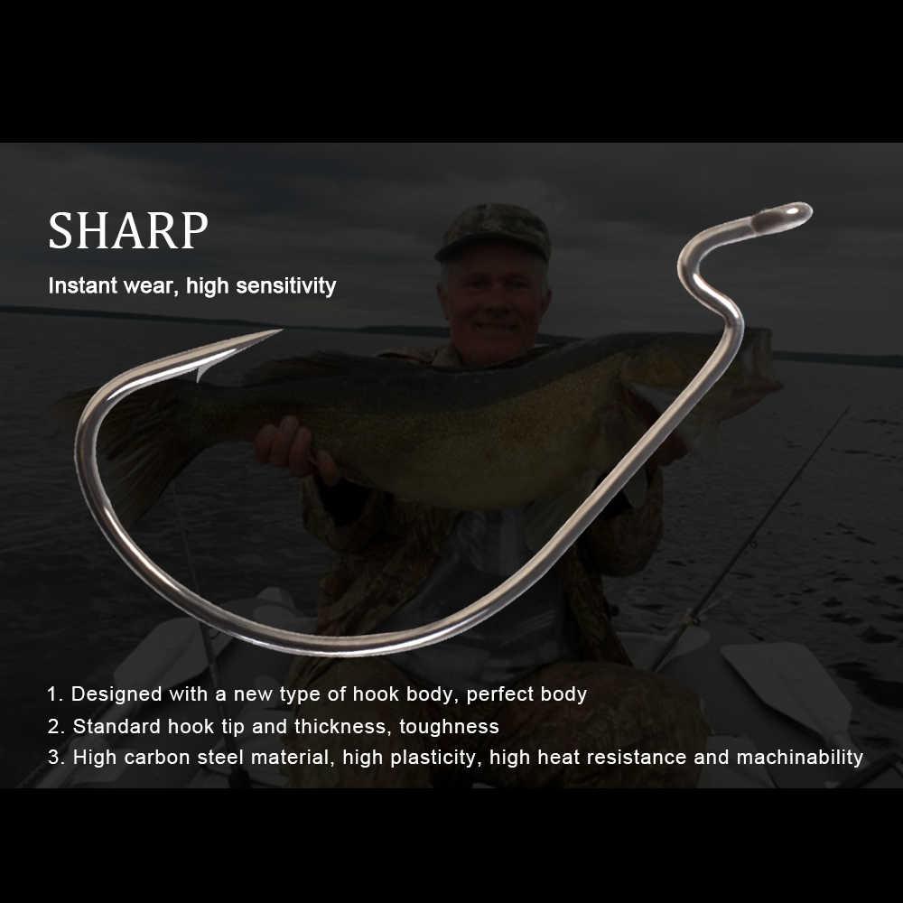 ปลา KING 50 ชิ้น/แพ็คตกปลาหนอนตะขอ High Carbon Steel กว้าง Super Lock Bass Fishhooks Barbed Lure Softjerk ตะขอ 1 # - 5/0 #
