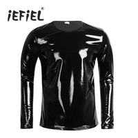 New Black Mens Patent Leather Long Sleeve Zipper T Shirt Nightclub Novelty Style Metallic Shiny Hip