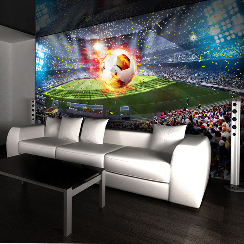 Photo Wallpaper 3D Stereo Football Field Mural Living Room Cafe Backdrop Wall Home Decor Creative Wallpaper For Walls 3 D Murals 3d wall murals wallpaper for living room walls 3 d photo wallpaper sun water falls home decor picture custom mural painting
