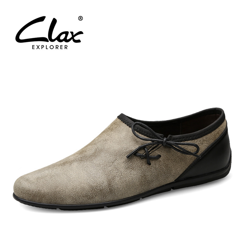 CLAX Men's Casual Leather Shoes 2017 Summer Autumn Designer Flats Loafers Male Leisure Footwear Fashion Moccasin Soft clax men loafers shoes slip on 2017 summer autumn leather shoe for male casual footwear flat moccasin boat shoe breathable