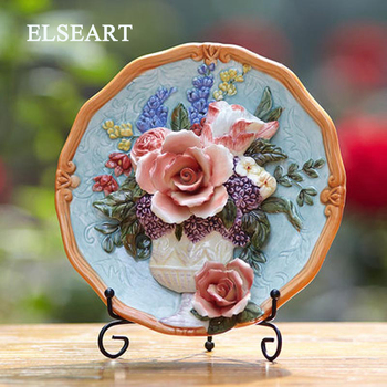 Relief sulpture flower vase plant plate with plastic holder ceramic decorative dish figurine for home decoration