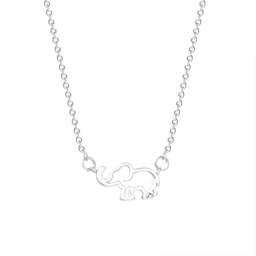 Qiamni 珍味折り紙象ネックレスチェーン自由奔放に生きる幾何動物ペンダントネックレスウッドランドジュエリーの誕生日プレゼント