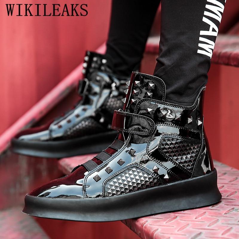 Top De Homme Masculino Hommes argent Adulto Noir Cuir Noir Sneakers Hiver Chaussure Chaussures Luxe Hop En Argent Marque Hip Tenis High 8dWq1F1