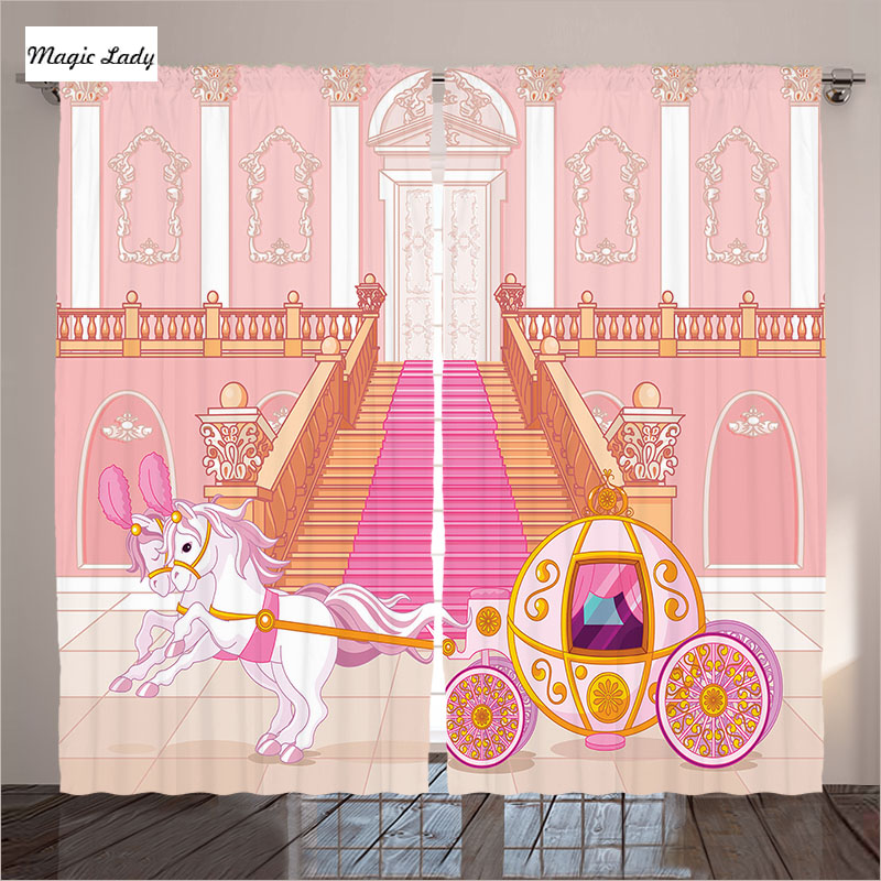 Curtains Horse Fairytale Carriage Palace Teen Girls Home ... on Beige Teen Bedroom  id=81243